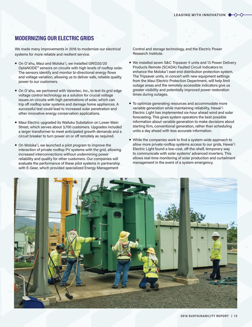 Hawaiian Electric - 2016 Sustainability Report - Page 12-13